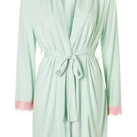 Eyelash Lace Trim Robe - Mint