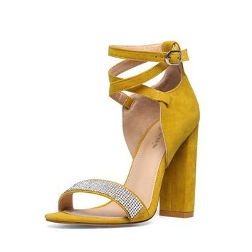 Yellow Suede Buckle Cross Strap Crystal High Heel Sandals