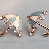 Studded Blue Umbrella Earring