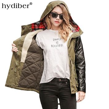 Hydiber Winter new women long sleeve cotton dress army green thick coat street fashion have hats pull even jacket XXL