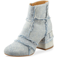 MM6 Maison Martin Margiela Denim Chunky-Heel Bootie. Light Blue