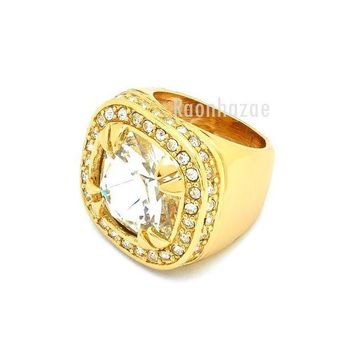 LMFONRC NEW MEN BIG CHUNKY GOLD PLATED ICED OUT RICH GANG CLEAR CRYSTAL CLEAR RING R030G