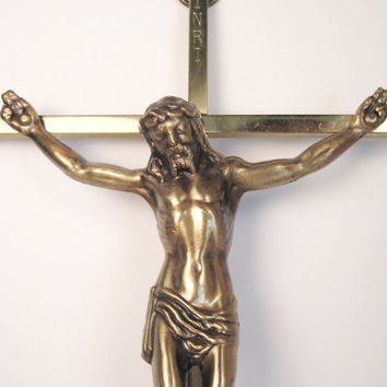 Vintage Solid Brass INRI Jesus Christ Cross, Home Decor, Religious Home Wall Hanging