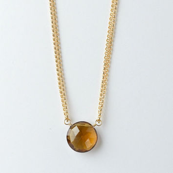 Cognac Quartz Necklace, Brown Gemstone Layered Chain Necklace, 16 Inch