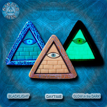 EyeGloArts lavender gold GLOW in the dark jewelry Illuminati all seeing eye pyramid pendant clubwear blacklight Psytrance rave candy