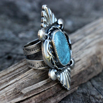 Turquoise Ring Sterling Silver Turquoise Jewelry Boho Ring Statement Ring Natural Turquoise Ring Big Turquoise Ring Sterling Silver Ring