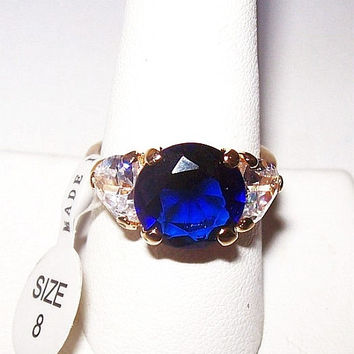 Sapphire Rhinestone Cocktail Ring Gold Plated Right Hand Fashion Size 8 Vintage