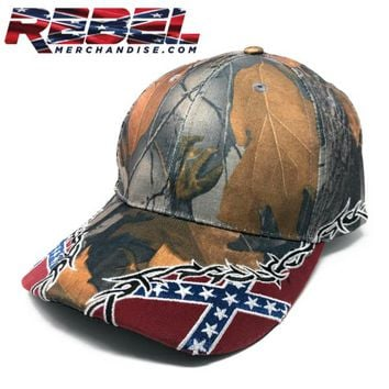 Camo, Barbwire, Rebel Cap (hat110)