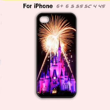 Pink Disneyland Castle Disney Firework Cute Cool Case iPhone 4 4s 5 5s 5c 6 Plus-5 Colors Available