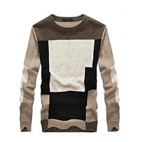 Men's Round Collar Contrast Color Stitching Long Sleeve Sweater