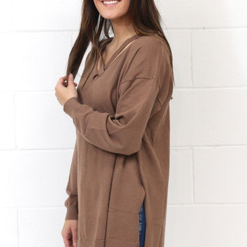 Cross It Off Hi-Lo Side Slit Sweater {Mocha}