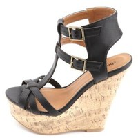 Strappy T-Strap Platform Wedges by Charlotte Russe