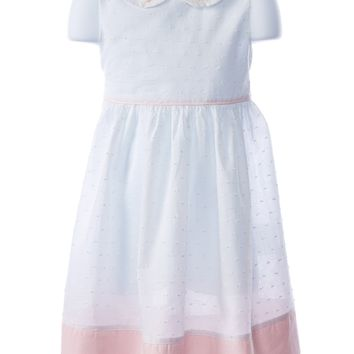 Love me White Swiss Dot Dress with Embroidered Rose Collar