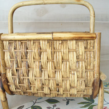 Bamboo Magazine Rack, Wicker Record Holder, Wicker Magazine Rack