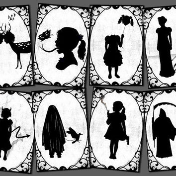 8 silhouette postcards weird strange creepy art digital black white victorian gothic devil skull crow
