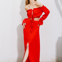 Red Off Shoulder and Long A Line Terno Dress