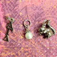 Sorority Greek Alpha Gamma Delta Essential Trio Charm Set - lavaliere, squirrel mascot, pearl dangle