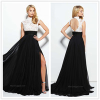 High Neck Lace Prom Dresses  Sleeveless Hollow Back Appliques Beaded Side Split Sheath Sweep Train