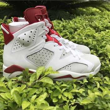 Air jordan retro 6 MAROON white RED men women Basketball Shoes retro 6S sports Sneakers Athletics Shoes size 36-47
