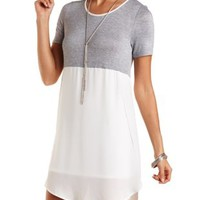 Knit & Chiffon Color Block Shift Dress - Heather Gray Combo