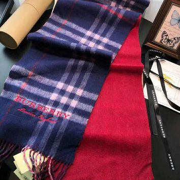 Burberry Tide brand classic plaid men and women fashion wild cashmere scarf shawl scarf Blue