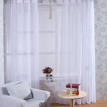 Transparent White Sheer Curtain Window Decoration