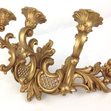 Gold Hollywood Regency 3 Arm Candle Sconce 1960s Homco Floral Scroll Romantic Art Nouveau Wall Candelabra Victorian Steampunk Candle Holder
