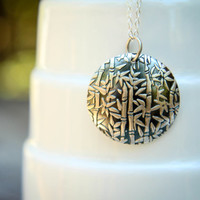 Embossed Bamboo Disc Necklace in Sterling Silver