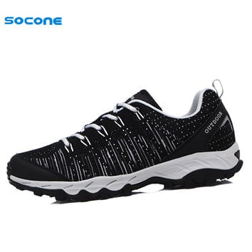 SOCONE New Men Running Shoes Spring Summer Outdoor Sport Boy  Sneakers Breathable Fly Line Cool Trainers Black 1130M-1