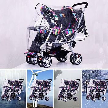 Twins Stroller Rain Cover Foldable Double Pushchair Wind Shield Universal PVC Raincoat for Pram Wheelchair Stroller Accessories