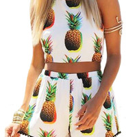Self Tie Co-ord With Pineapple Print in White
