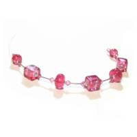 Murano Glass Pink Cube Sterling Silver Necklace