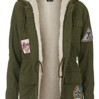 Badged Hooded Jacket - Khaki