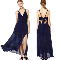 Blue V-Neck Strappy Cutout Bow Back Side Slit Chiffon Maxi Dress