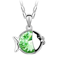 Cute Emerald Green Fish Swarovski Element Austria Fashion Crystal Pendant Necklace FREE Pouch