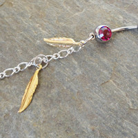 Gold Feather Belly Button Ring Pink Crystal by MidnightsMojo