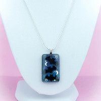 """Kawaii Pastel Goth Bats, Moons, and Stars 18"""" Gradient Blue and Purple Resin Pendant Necklace"""