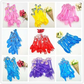 30pcs/set Mickey Minnie Mouse  Spiderman Avengers Minions Pikachu Hello Kitty Plastic Knife Fork Spoons Party Supplies