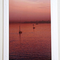 Pink Sunset over the Nile Photo Greeting Card, Fine Art Photography, Atmospheric River Scene, All Occasion Card, Travel in Egypt Photo Print