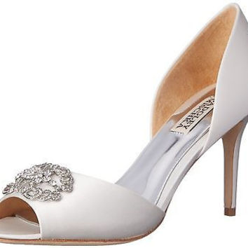 Badgley Mischka Women's Seneca D'Orsay Pump, White, 6 M US