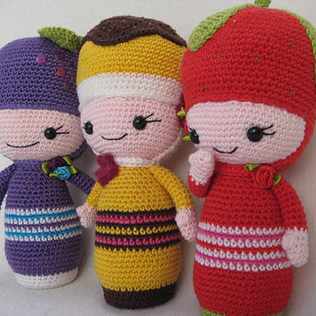 The little sweet girls amigurumi toy doll crochet pattern pdf 3 dolls in 1 pattern
