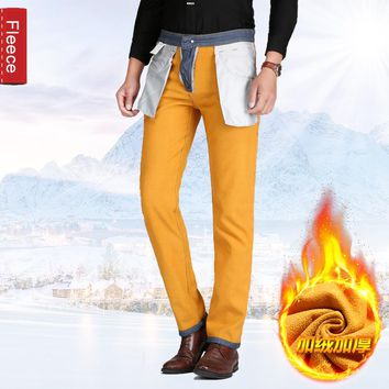Thoshine 2017 Spring Autumn Winter Men Fleece Jeans Male Thermal Denim Pants Adult Full Length Warm Trousers Plus Size Clothing