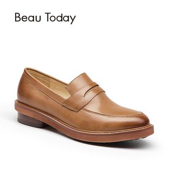 BeauToday Penny Loafers Women Fashion Slip On Shoes Genuine Leather Waxed Sheepskin Dress Casual Handmade Lady Flats 27030