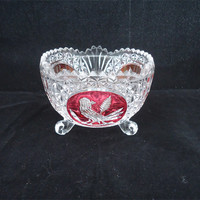 Vintage Hofbauer Byrdes Bird Ruby Flashed Crystal Bowl,  Crystal Candy Dish, Footed Hofbauer Byrdes Bird Ruby Flashed Bowl