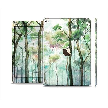 The Watercolor Glowing Sky Forrest Skin Set for the Apple iPad Air 2
