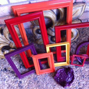 Eclectic Home Decor Vintage Frames Red OrangeYellow by FeFiFoFun