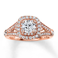 Diamond Engagement Ring 1 1/5 ct tw Round-cut 14K Rose Gold