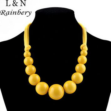 Rainbery Maxi Necklace Gradient Large Glazed Candied Acrylic Beaded &Cotton Rope Choker Statement Necklaces For Women
