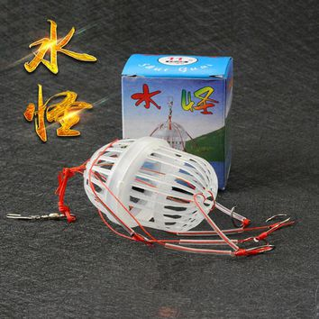 2 pcs lot 6 Hooks Lantern Bait Case Barbed Explosion Winter Carp Fishing Lure China Jig Feeder Spoon Hook Fly Fishing FO125
