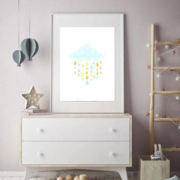 Cloud print, rain drops, nursery decor, colorful raindrops, baby shower gifts, raindrops printable, cloud wall art, rain cloud poster art
